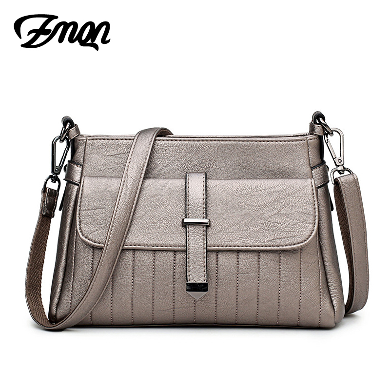 ZMQN Women Messenger Bag and Over The Shoulder Bags Soft Leather For Women Good Quality Cross Body Bags Light Zipper 2017 A543