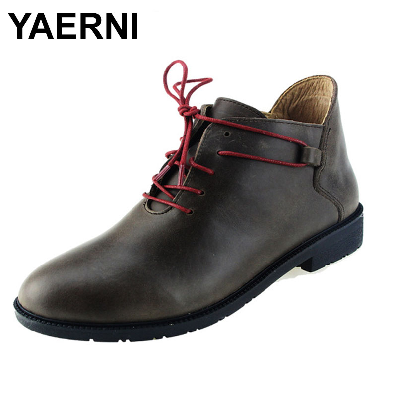 YAERNI Women's Boots Genuine Leather Ankle Boots Round Toe Lace up Woman Shoes Female Spring Autumn Footwear 2017 xiangban women ankle boots handmade genuine leather woman short boots spring autumn round toe female footwear