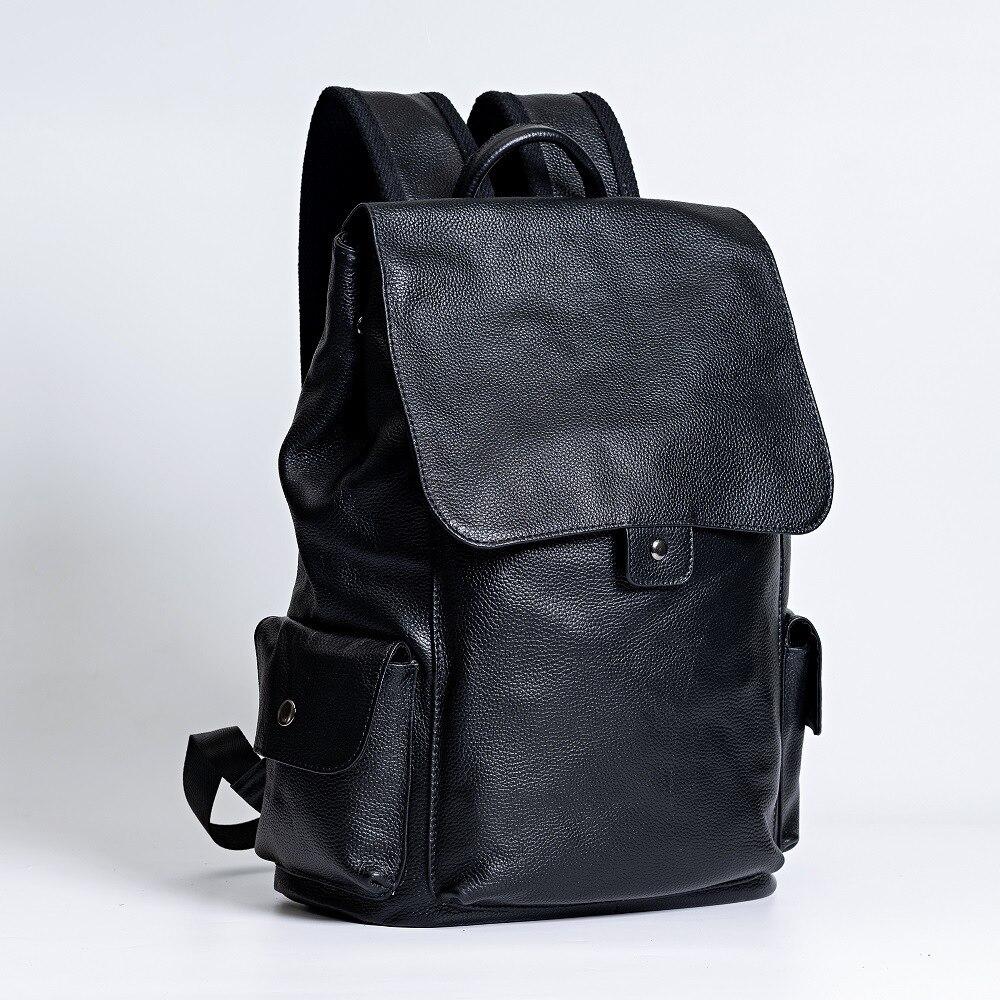 Рюкзаки пояса из натуральной кожи унисекс Мужские и женские модные школьные сумки для ноутбука Ipad пакет путешествия большой зарядка через usb - 3