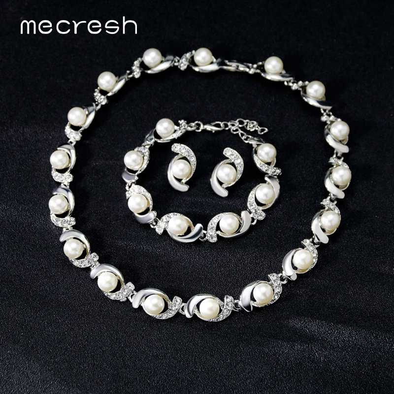 Mecresh Elegant Simulated Pearl Bridal Jewelry Sets for Women Silver Color Pod Wedding Necklace Stud Earrings Bracelet Set TL577