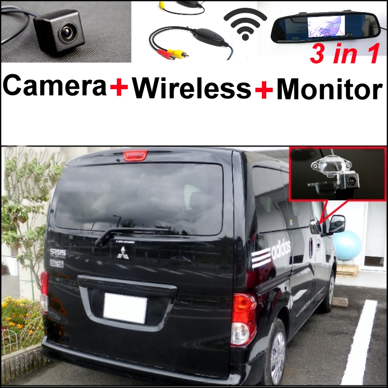 3 in1 Rear View Special Camera + Wireless Receiver + Mirror Monitor Easy DIY Back Up Parking System For Mitsubishi Delica wireless pager system 433 92mhz wireless restaurant table buzzer with monitor and watch receiver 3 display 42 call button