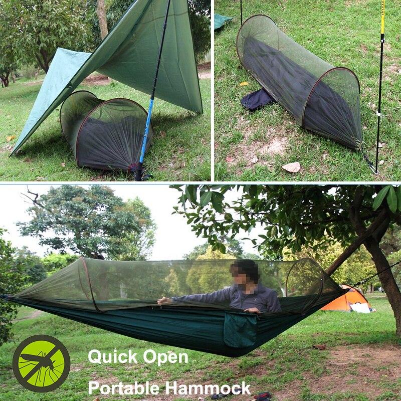 Multi-usage Portable Hamac Camping Survivant Hamac avec Moustiquaire lit de couchage Sac Forme Balançoire Lit Utilisation De Tente