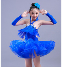 New Style Multicolor Latin Dance Costume Fringe Tassel Stones Dress for Girls Kids Competition Dresses