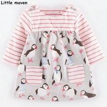 Little maven kids dresses for girls autumn baby girls clothes Cotton penguin print stripped pocket dress S0099