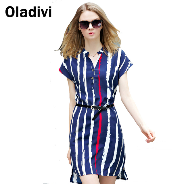 Blue Striped Fashion Dress Plus Size Women Clothes 2017 Summer ...