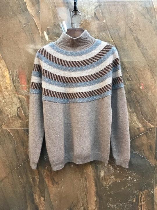 gris Bande Sweater1129 col kaki Tricoté Baituan Décoratif Haute Petit À 2018 Mosaïque Bleu Manches Longues qtgxOTnw