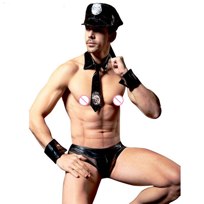 Men Halloween Cop Cosplay Clothing With Hat Necktie Police Role-Playing Underwear Vinyl Men Sexy Costume Pole Dance Costumes