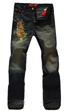 New Vintage Tiger Embroidery Jeans Fashion Straight Casual Trousers