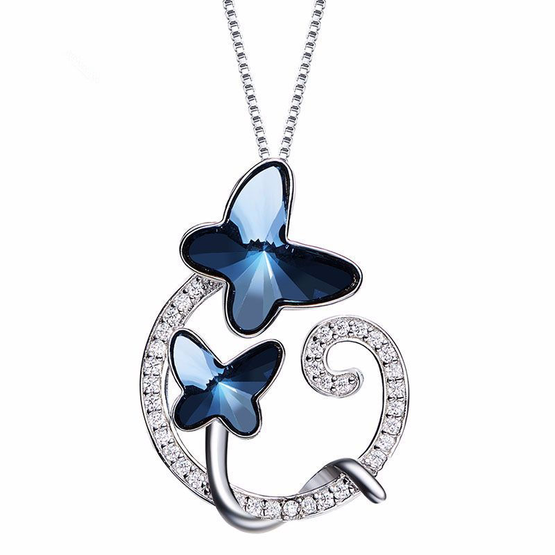 Crystal Blue Butterfly Pendant Women's Necklace Silver 925 Jewelry Fashion Choker Chain Jewelery 2018 Top