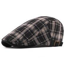 Модные шляпы весна-осень для мужчин клетчатые хлопковые береты кепки s Gorras Planas Boinas плоская кепка регулируемые береты Casquette