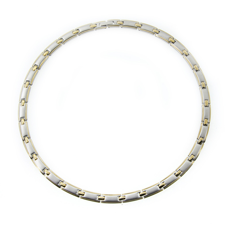 Fasion Jewelry 24K Gold 316L Stainless Steel Necklace Link Chain Health Necklace For Women Men Necklaces High Quality Never Fade beier stainless steel men fashion jewelry high quality pulseira masculina byzantine chain link necklace for women bn1038