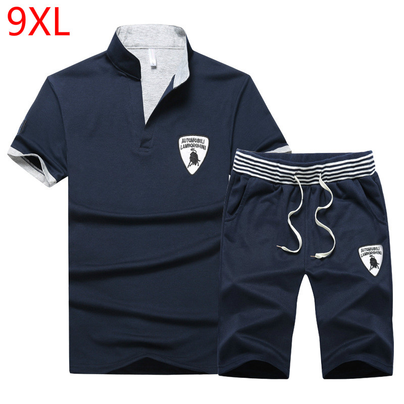 PLUS Size 10XL 9XL 8XL 7XL 6XL 5XL Men SET Summer Tracksuit Set Short Sleeve T-shirt Sport Suit Tops Shorts Male Suits Tracksuit
