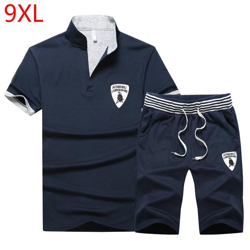 PLUS Size 10XL 9XL 8XL 7XL 6XL 5XL Men SET Summer Tracksuit Set Short Sleeve T-shirt Sport Suit Tops Shorts Male Suits Tracksuit