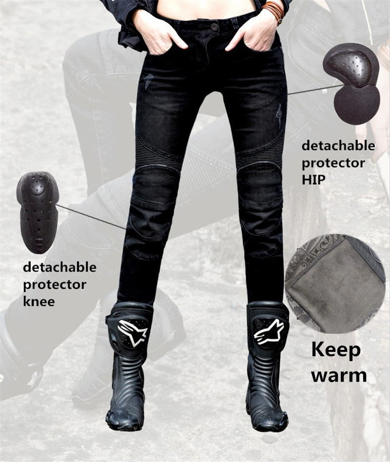 Uglybros Featherbed 02 Winter Warm motorcycle jeans Women s Motorcycle Pants pantalon moto size 25 26