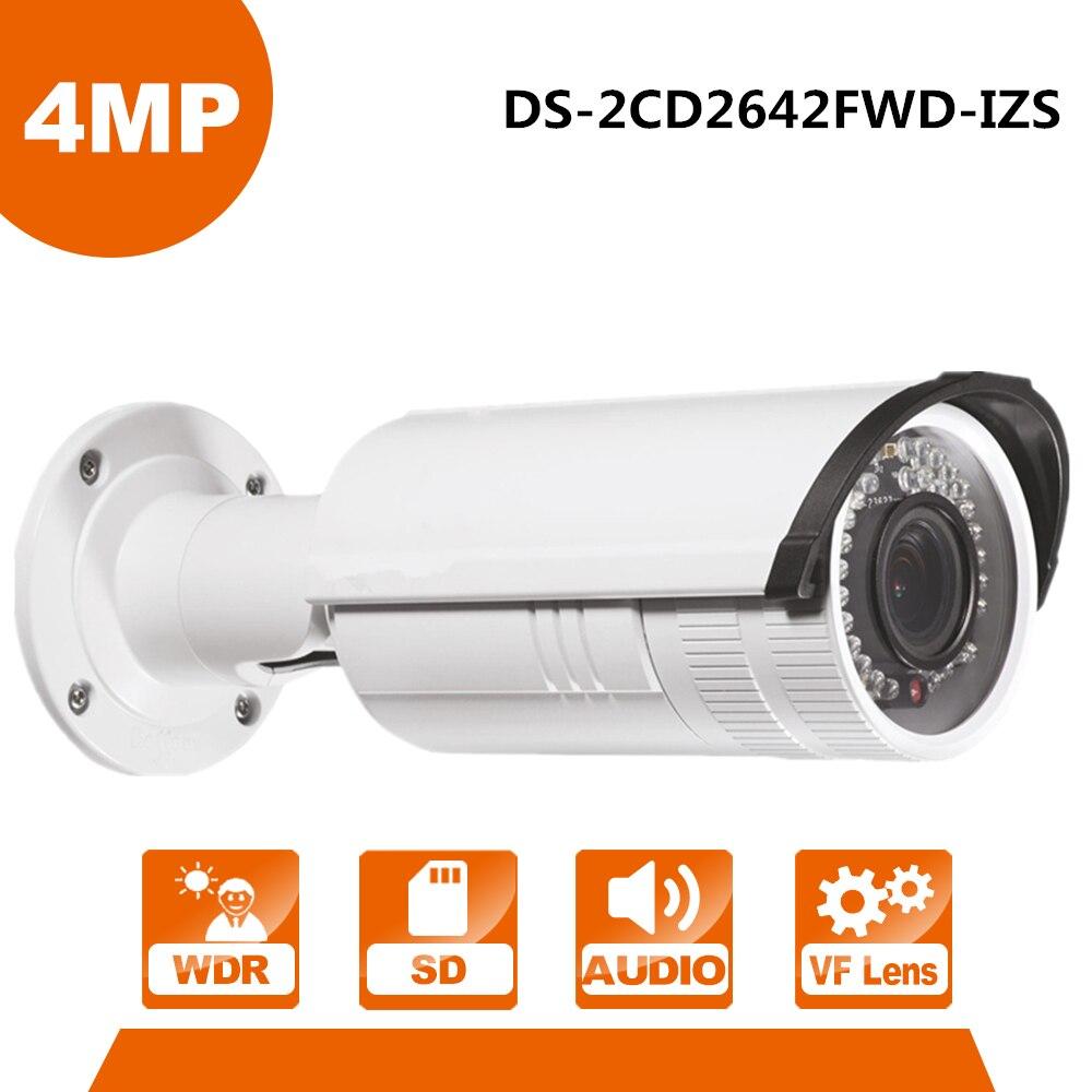 Anglais Version 4MP IP Caméra D'origine DS-2CD2642FWD-IZS WDR Bullet Réseau IP CCTV Caméra Vari-focal Objectif Motorisé POE