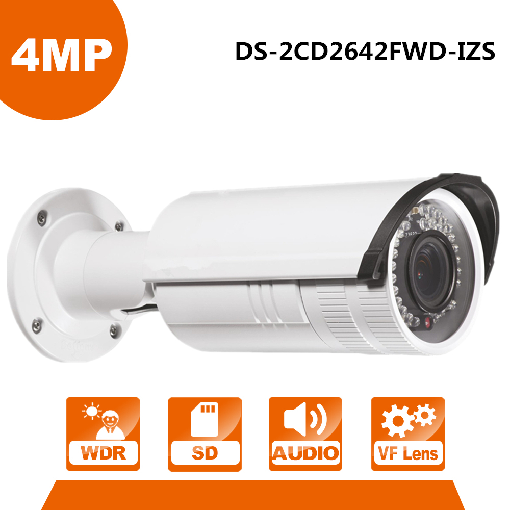 English Version 4MP IP Camera Original DS-2CD2642FWD-IZS WDR Bullet Network IP CCTV Camera Vari-focal Motorized Lens POE free shipping english version ds 2cd4a26fwd izs 2mp low light smart ip cctv camera support 128g recording poe lpr camera