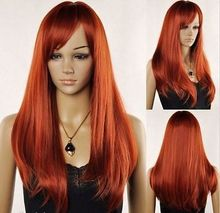 Wholesale heat resistant LY free shipping New Women s Long Red Brown Straight Oblique Bangs Cosplay