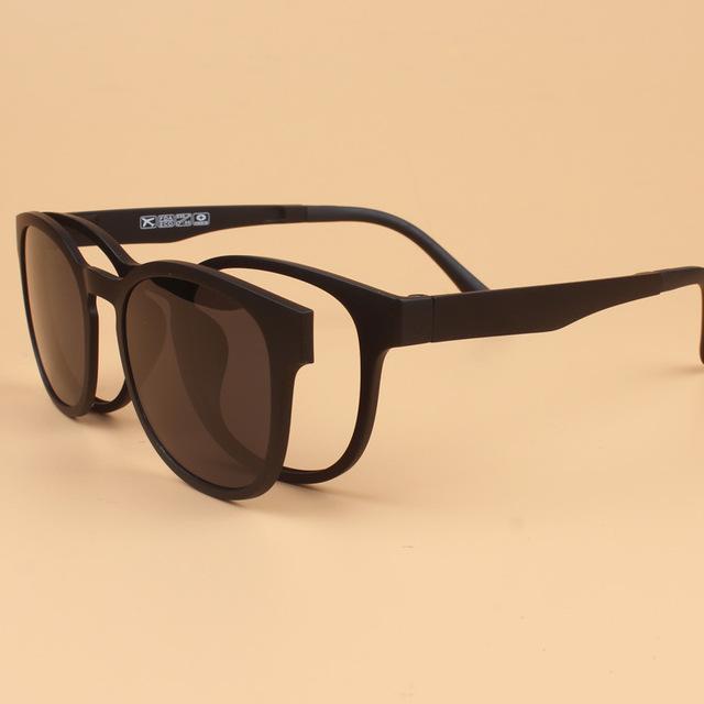 Moda Ligero Ultem PEI Tungsteno Miopía Gafas de Marco con imán Clip de Gafas de sol Retro Set Espejo Lentes de Prescripción puede Llenar