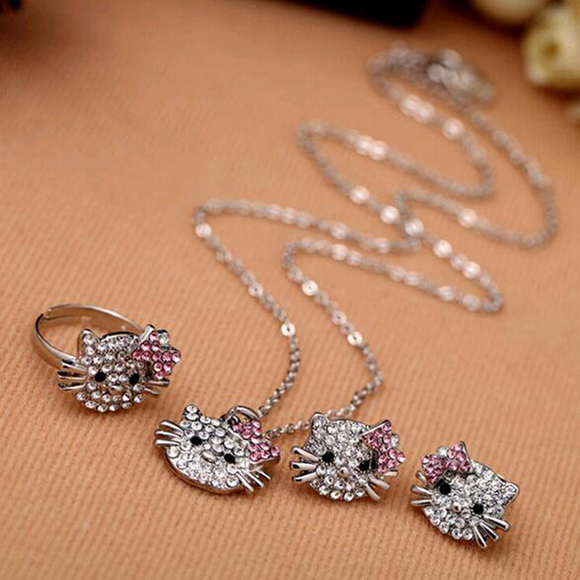 4905f61ee New Fashion Crystal Cat Stud Earrings Rhinestone Hello Kitty Earrings  Bowknot KT Jewelry For Girls Ring,Earring and Necklace Set