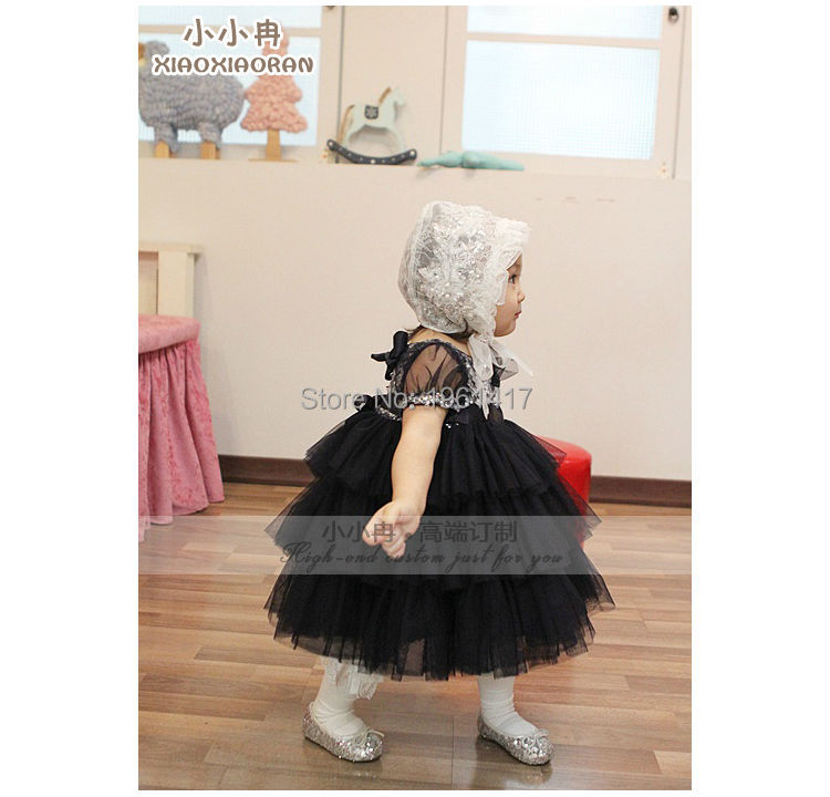 2016 Quality Of Bitter Fleabane Bitter Fleabane Of Black Gauze Dress Can Be Customized Girl's Clothes Factory Direct Sale Price 2016 summer fashion dresses of the girls beautiful female baby lace dress can be customized factory price direct selling
