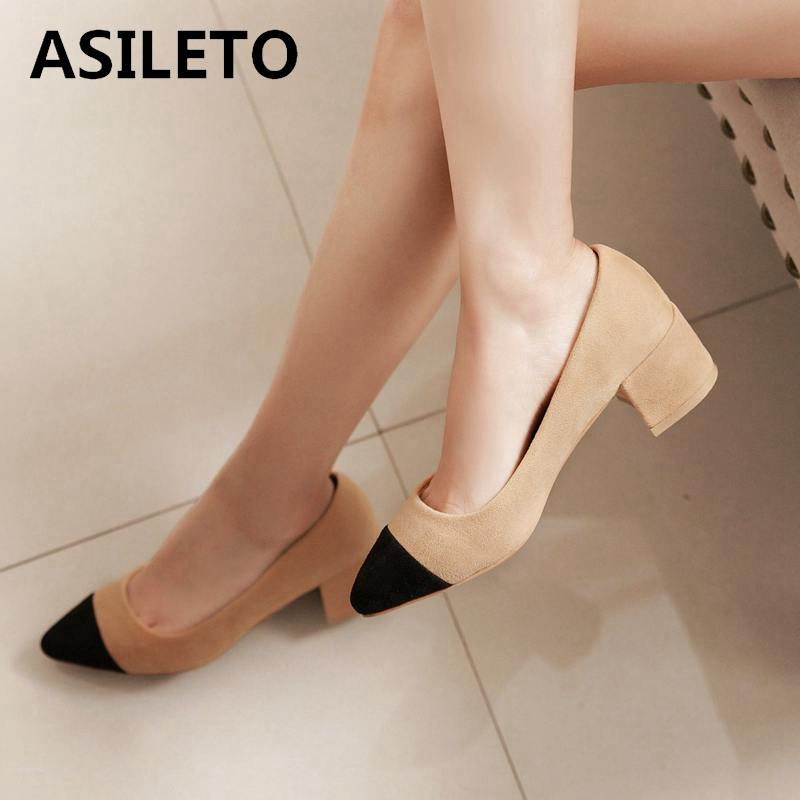 Detail Feedback Questions about ASILETO Brand Women Pumps Thick Heels shoes  woman Office women high heel pumps Footwear women Shoes pumps zapatos Mujer  S345 ... 177d3f17aa85