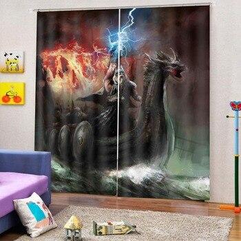 European Curtains Photo Painted 3D Curtain Living room Blackout curtain