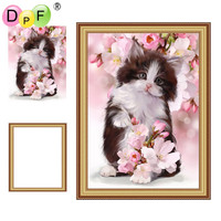 DPF Framed Diamond Painting flowers and cat Diamond Embroidery mosaic full round drill home decor wall painting unique gift