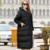 Mujeres de la manera Abajo Abrigo de Invierno 2016 Nueva Gran Tamaño de la Mujer Abrigos Volver Hueco Del Codo Costura Señoras de La Chaqueta Larga Ropa de Abrigo Y163