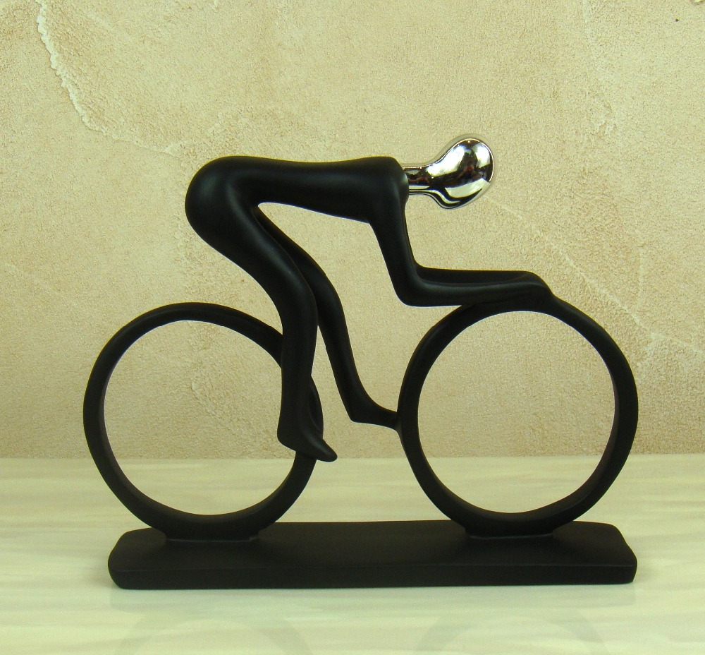 Abstract Bicycle Rider Sculpture Handmade Resin Bike Racing Statue ...