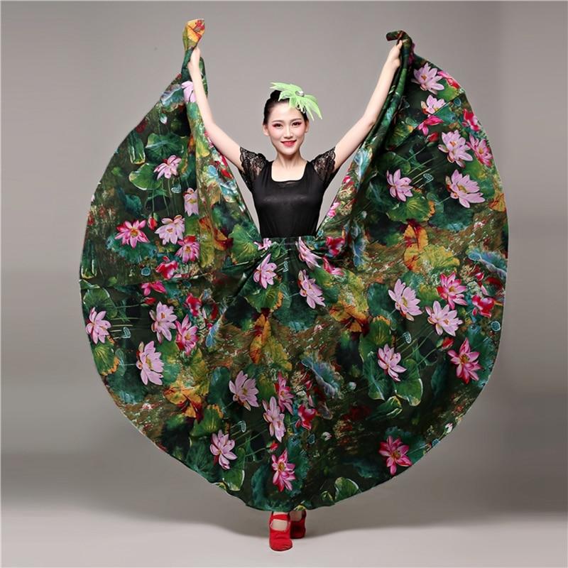 968a6c5e1dcc Flamenco Jupe pour Femmes Chœurs Danses D ouverture Fanfaron Jupes Demi- jupes Espagnol De Danse Du Ventre Jupe Dropshipping