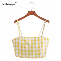 Lanbaiyijia Newest Sexy Yellow Plaid Camis Back Zipper Backless Spaghetti Strap Short Camis Sleeveless Casual Women Crop Tops