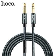 HOCO 3.5mm Jack câble Audio plaqué or Jack 3.5mm mâle à mâle câble Aux avec Microphone micro pour iPhone voiture casque haut parleur