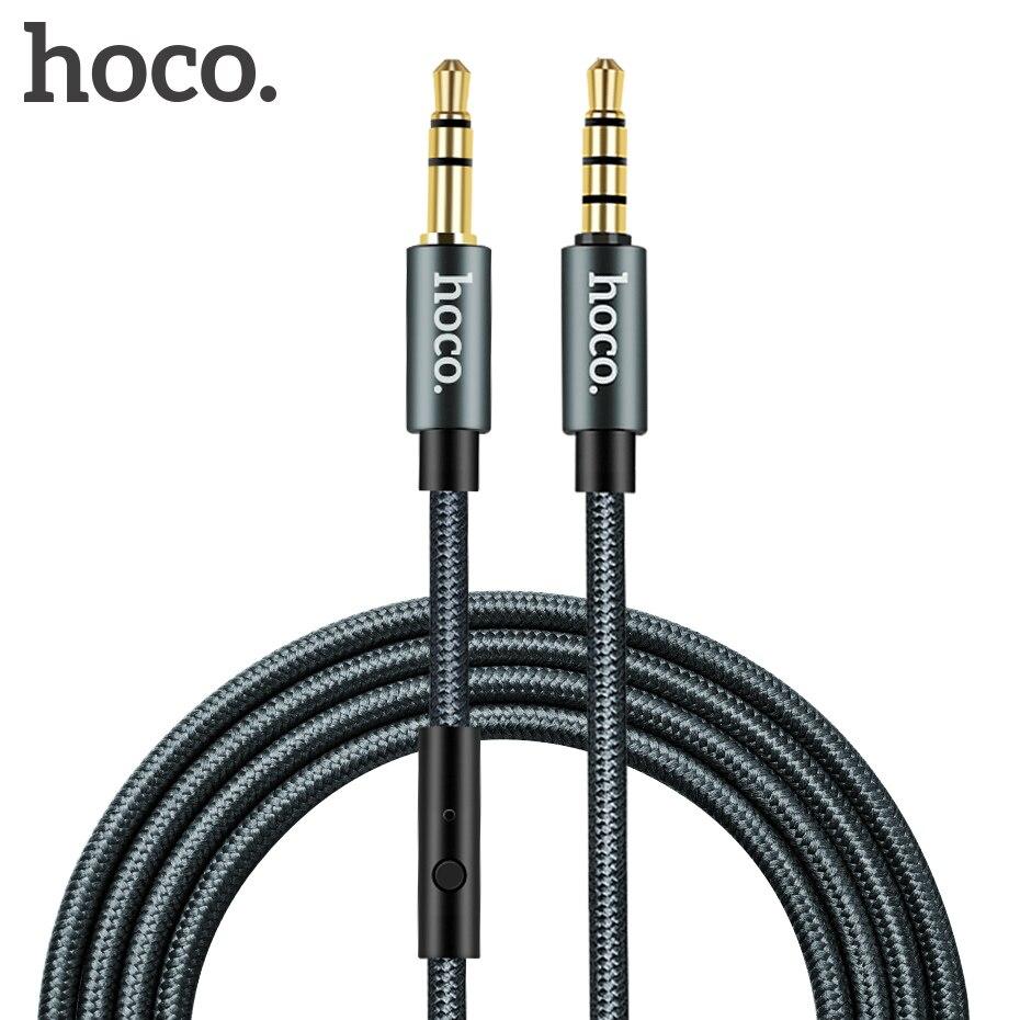 Hoco 3.5mm jack cabo de áudio banhado a ouro jack 3.5mm macho para macho aux cabo com microfone microfone para iphone carro fone de ouvido alto-falante