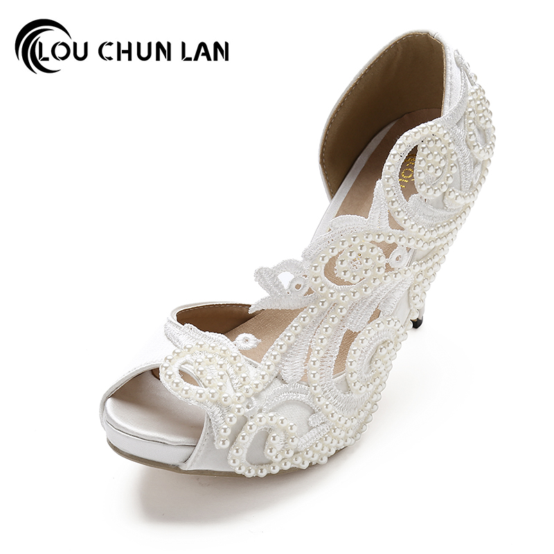 цена на Shoes Women Pumps Sexy open toe large size 41-43 lace wedding shoes bride and bridesmaids wedding dress pearl high-heeled shoes