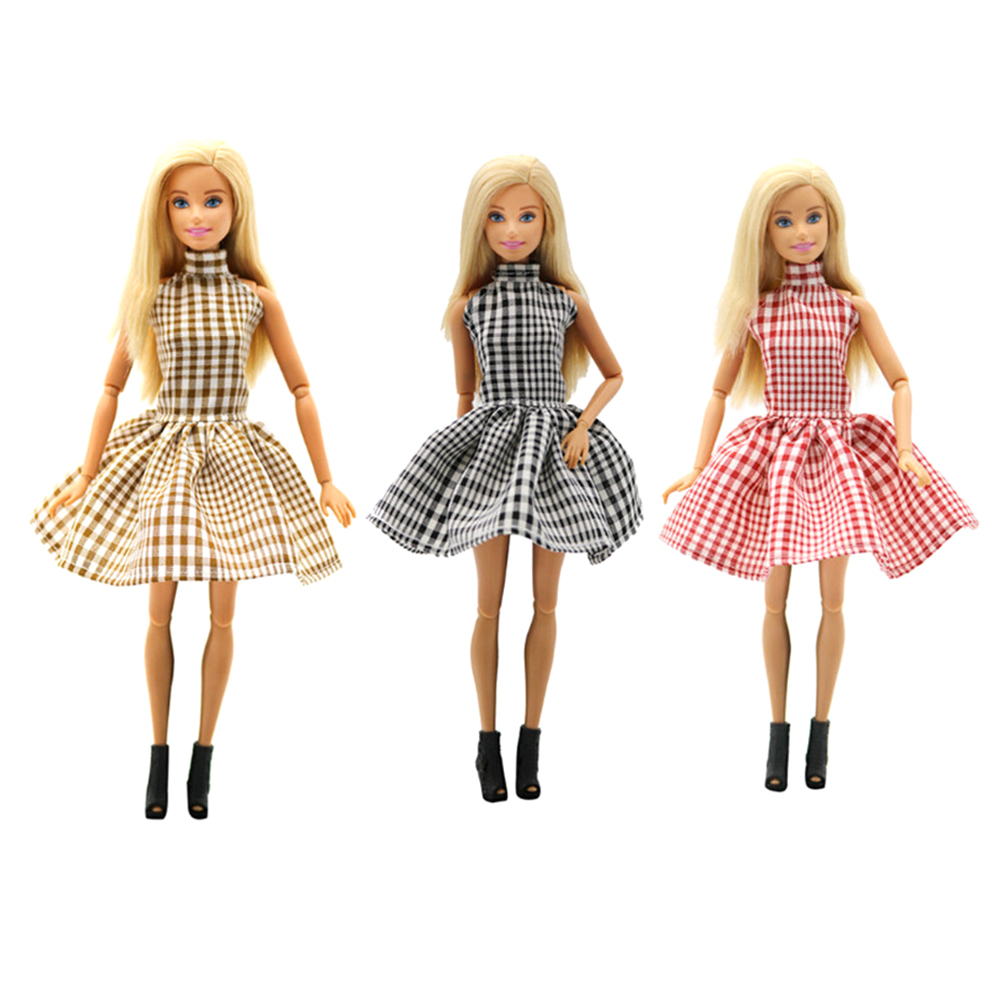 1PCS Beautiful Doll Dress Outfit Handmade Party Clothes Top Grid Dress For   Doll Fashion Best Child Girls'Gift