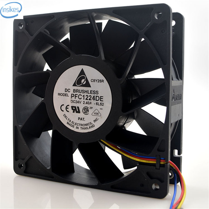 Original PFC1224DE Computer Blower Cooling Axial Fan DC 24V 2.4A 57.6W 12038 120*120*38mm PFC1224DE-6L52 original delta pfb1248ghe 12038 48v 0 82a 12cm humidifier full waterproof axial case cooling fan 120mm
