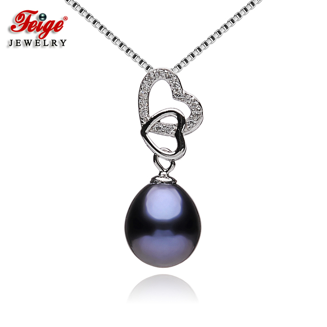 Heart black pearl pendant necklaces for women freshwater pearls heart black pearl pendant necklaces for women freshwater pearls party gifts real 925 sterling silver chain aloadofball Gallery