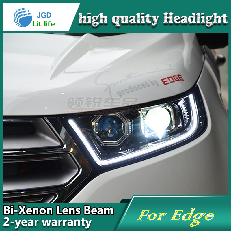 Car Styling Head Lamp case for Ford Edge Headlights LED Headlight DRL Lens Double Beam Bi-Xenon HID car Accessories car styling head lamp case for ford ecosport 2013 headlights led headlight drl lens double beam bi xenon hid car accessories