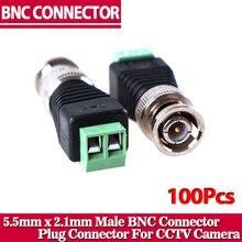100 Pcs Mini Coax CAT5 BNC Macho Conector Para Camera CCTV Vídeo Balun BNC Conector de Adaptador
