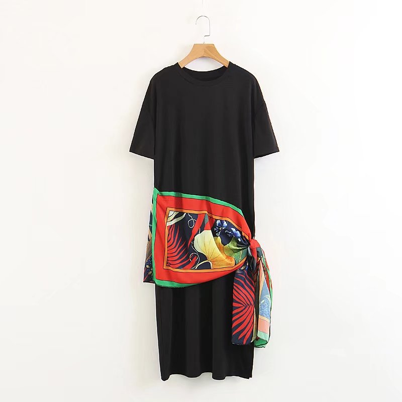 Fashion Europe and the United States wind round neck short sleeve hit color irregular scarf mosaic dress