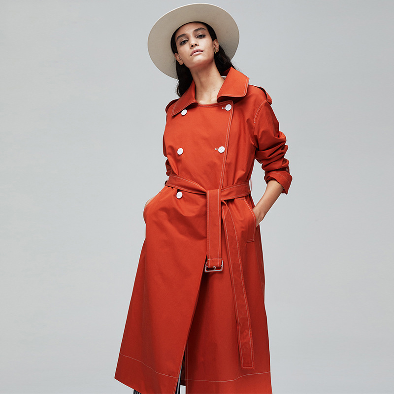 2019 Autumn Winter Trendy Coat Women Double Breasted High Quality Solid Long   Trench   Windbreaker Fashion Coats