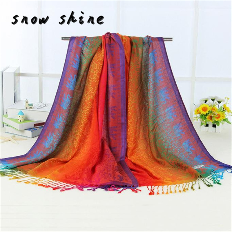 snowshine YLW Hot Lady Women Double Sided Elephant National Wind   Scarf     Wrap   Shawl free shipping