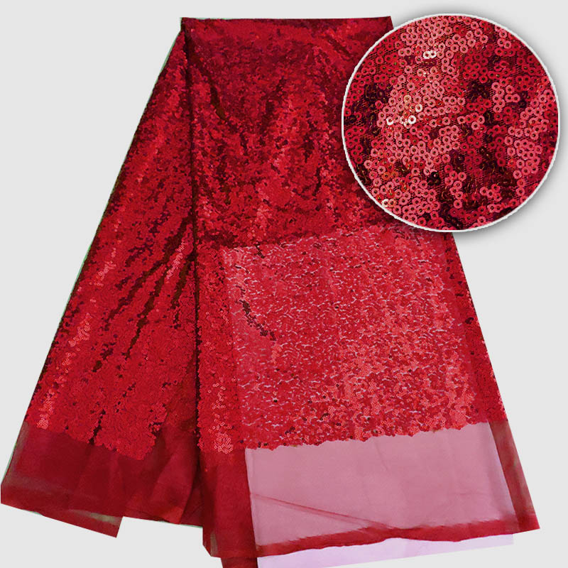 high quality French sequence sequins net lace,African velvet tulle mesh sequence lace fabric for party dress 5yards/lot Red