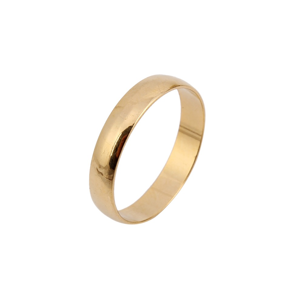 Fashion 24k Plain 4mm 6# 7# 8# 9# Ring Italian Fashion Ring Gold Color Wedding Engagement Shaped Ring Jewelry