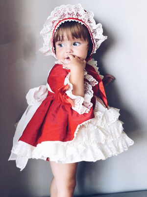 Anime cosplay Advanced Baby Gilrs Sweet Lolita Dress Cute Girls Little Red Riding Hood costume Halloween