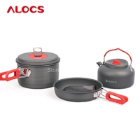 Alocs Portable Outdoor Non Stick Camping Hiking Backpacking Cooking Picnic Cookware Pan Pot Kettle Dishcloth Set CW C19T