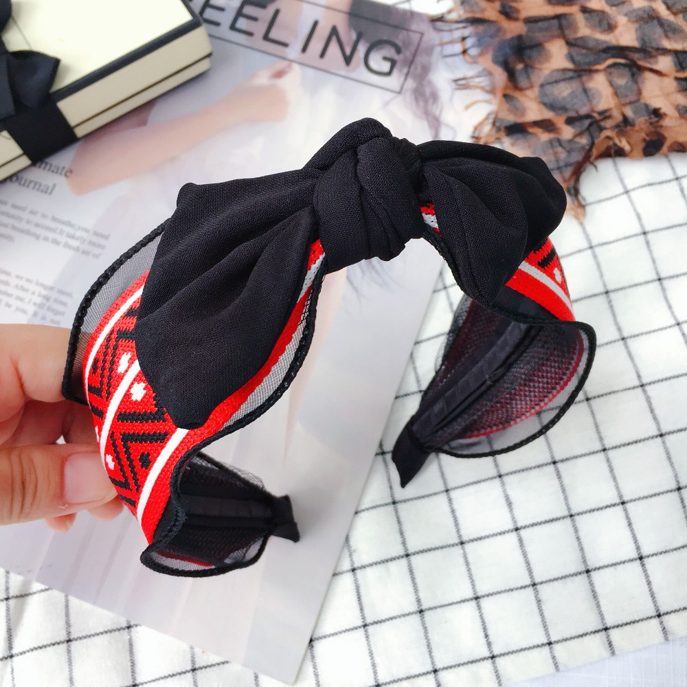 Korea Plaid Color Matching Top Knot Bow Retro Hair Accessories Hair Band High Quality Hairband Headbands For Women in Women 39 s Hair Accessories from Apparel Accessories
