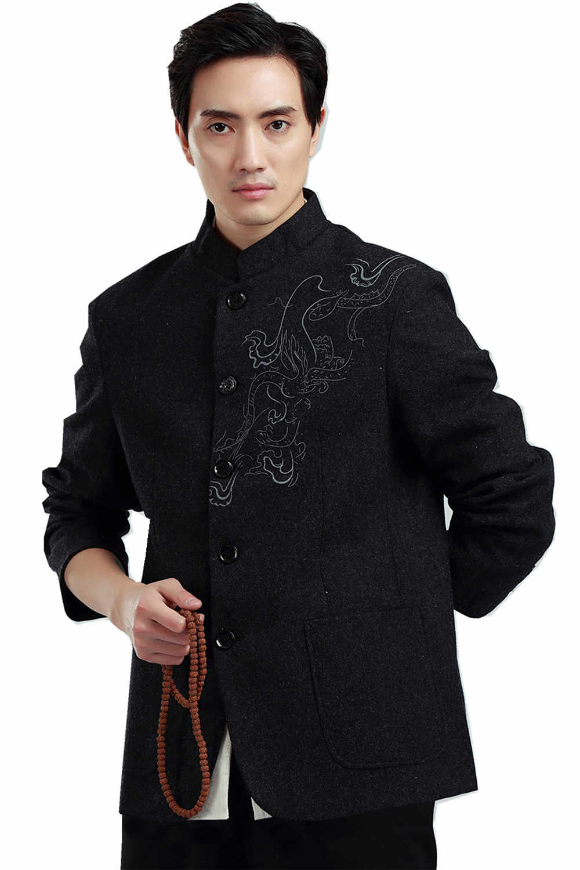 上海ストーリー中国の民族衣装唐スーツマンダリン襟ブレンドウール生地ドラゴン刺繍中国男性のジャケット