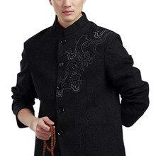 Shanghai historia chino tradicional ropa tang traje mandarín collar de lana  tela bordado dragón chino chaqueta de los hombres e306a5e4ffd