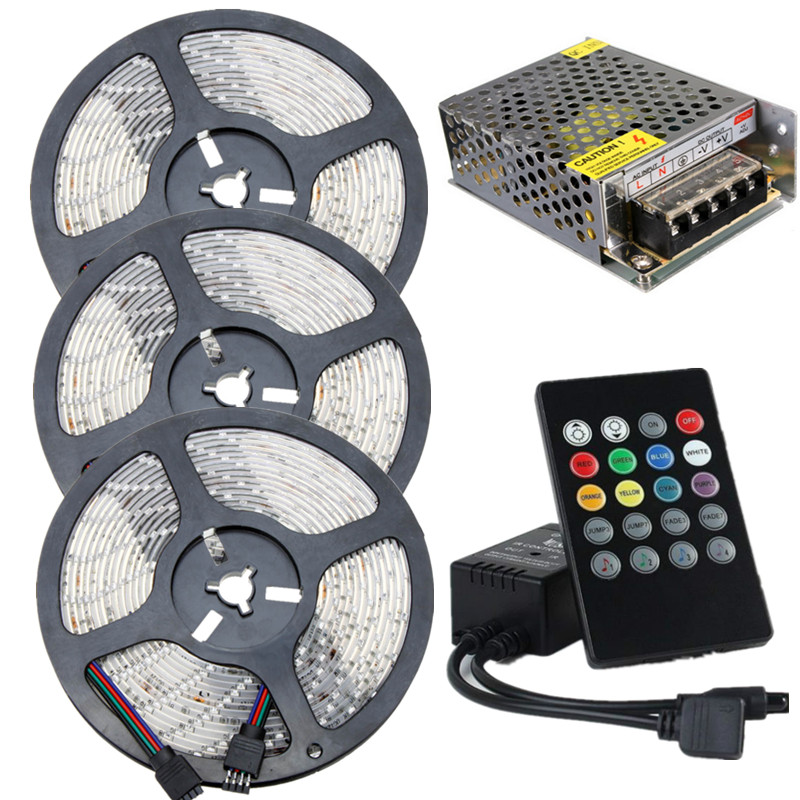 Waterproof RGB LED Strip Music Kit 12V 60leds/m Low Voltage Diode Tape 5m 10m 15m With Music RGB Controller+AC 220 to 12V Power